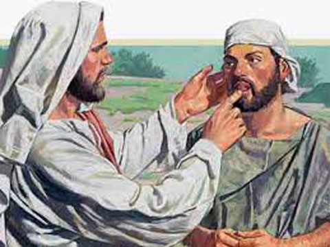 Jesus heals a man deaf and dumb