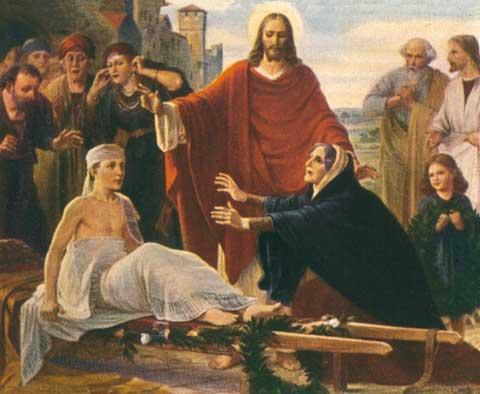 Jesús resuscita el hijo de la viuda de Naim.