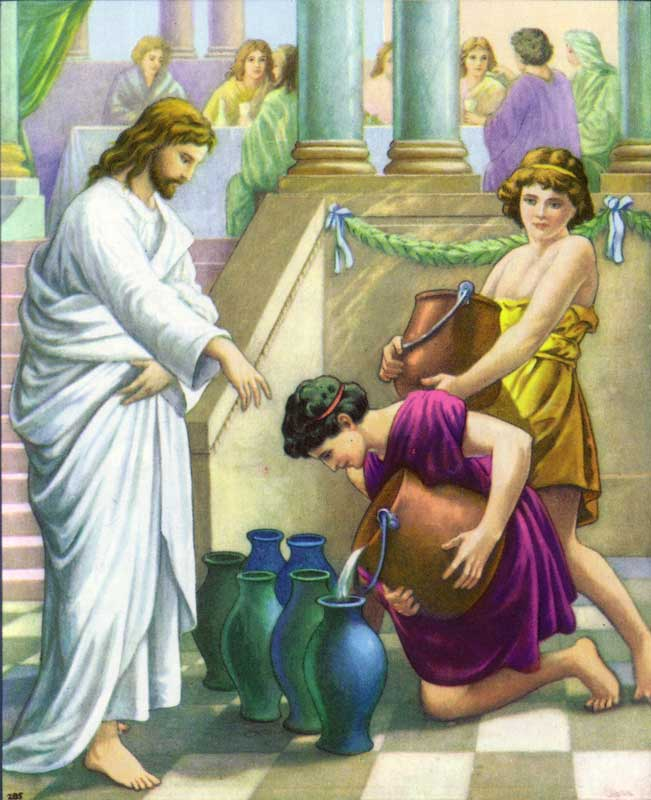 Jesus changes water into wine
