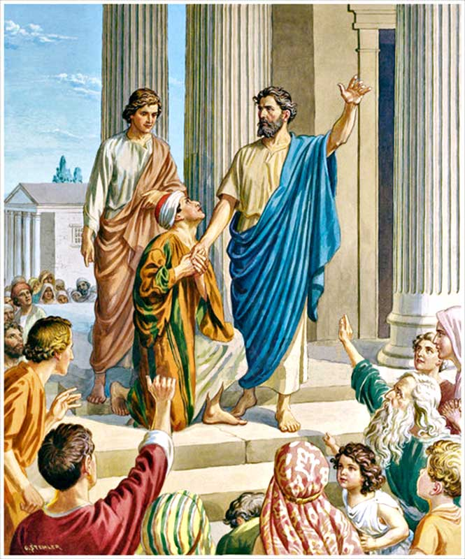 En el nombre de Jesús, san Pedro cura a un lisiado.