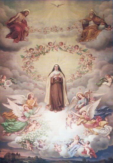 Saint Theresa spreads her roses on the earth