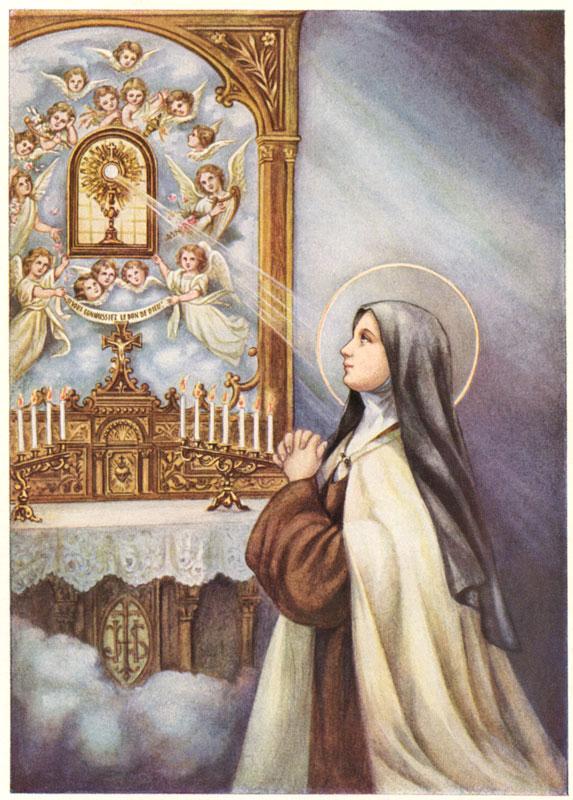 Saint Thérèse prays Jesus Host